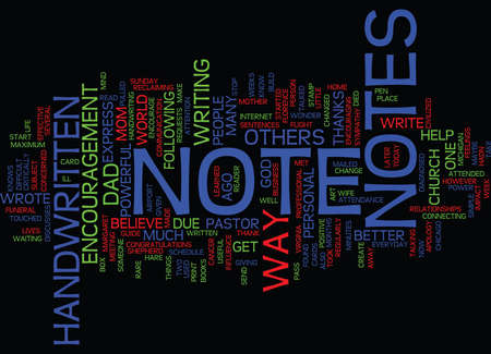 THE POWER OF NOTES Text Background Word Cloud Concept Ilustração