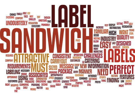 THE PERFECT SANDWICH LABEL Text Background Word Cloud Concept 向量圖像