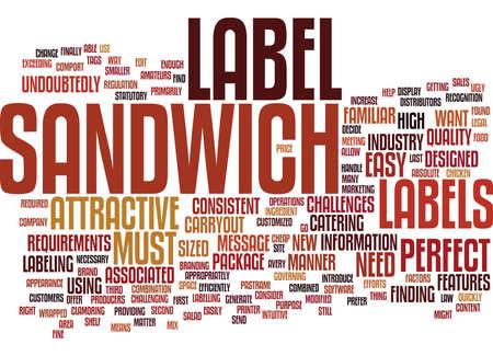 THE PERFECT SANDWICH LABEL Text Background Word Cloud Concept Illusztráció