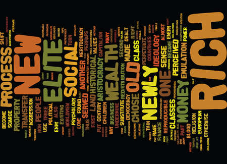THE PREDICAMENT OF THE NEWLY RICH Text Background Word Cloud Concept