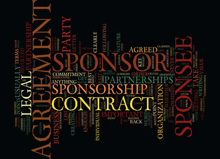 THE LEGAL SIDE OF SPONSORSHIP Text Background Word Cloud Concept