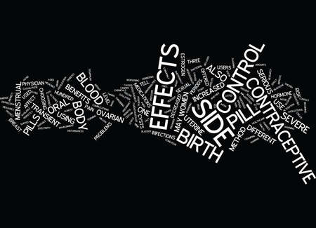 THE PILL AND ITS SIDE EFFECTS Text Background Word Cloud Concept Illustration