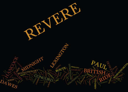 THE MIDNIGHT RIDE OF PAUL REVERE Text Background Word Cloud Concept