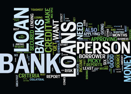 THE KEY TO BANK LOANS Text Background Word Cloud Concept Çizim