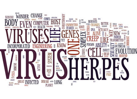 THE INCREDIBLE MYSTICAL FORMIDABLE HERPES VIRUS Text Background Word Cloud Concept Illustration