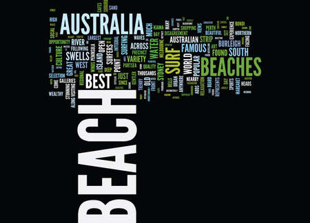 THE MOST BEAUTIFUL BEACHES IN AUSTRALIA Text Background Word Cloud Concept Ilustração