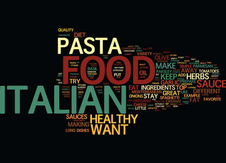 HET ITALIAANSE VOEDSEL DIEET Tekst Achtergrondword Wolkenconcept Stock Illustratie