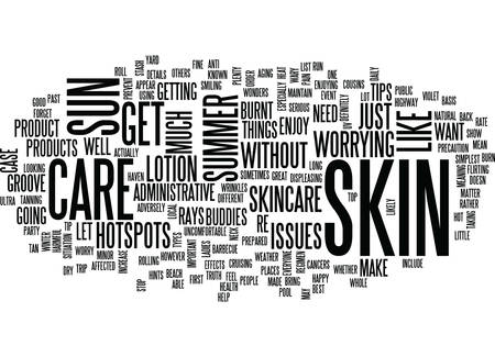 THE MOST IMPORTANT SUMMER SKIN CARE TIP Text Background Word Cloud Concept