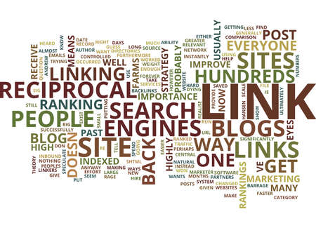 THE NEW RECIPROCAL LINK Text Background Word Cloud Concept