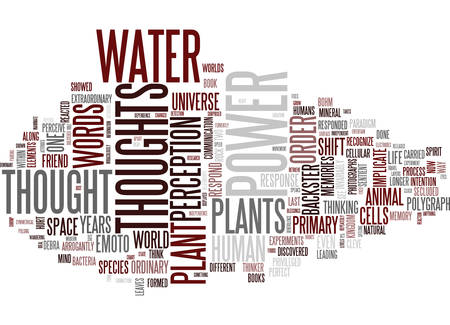 THE POWER OF THOUGHTS ON PLANTS AND WATER Text Background Word Cloud Concept Çizim