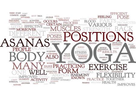 YOGA ASANAS Text Background Word Cloud Concept