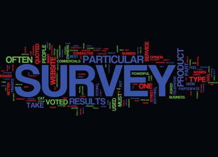 THE POWER OF A SURVEY Text Background Word Cloud Concept
