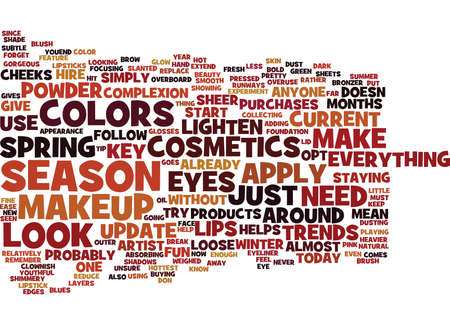 THE MUST HAVE MAKEUP PRODUCTS OF THE SEASON Text Background Word Cloud Concept Vettoriali