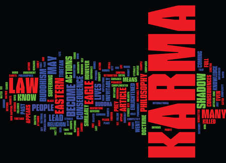 THE LAW OF KARMA Text Background Word Cloud Concept