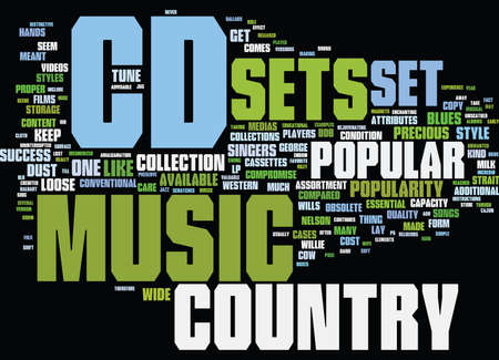 THE POPULAR COUNTRY CD SETS Text Background Word Cloud Concept