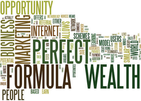 THE PERFECT WEALTH FORMULA Text Background Word Cloud Concept Illustration