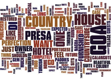 プレサ ・ ディ ・ ゴア カントリー ハウス ホテルのテキスト背景の単語クラウドのコンセプト