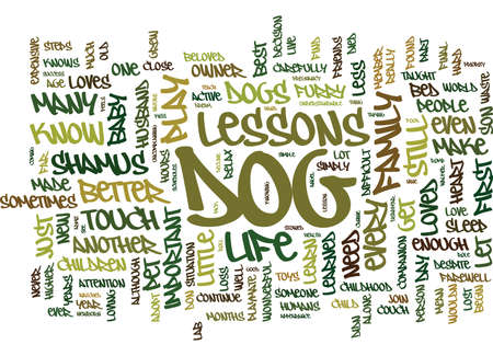THE IMPORTANT LIFE LESSONS I LEARNED FROM MY DOG Text Background Word Cloud Concept