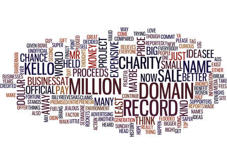 THE MOST EXPENSIVE DOMAIN NAME IN HISTORY Text Background Word Cloud Concept