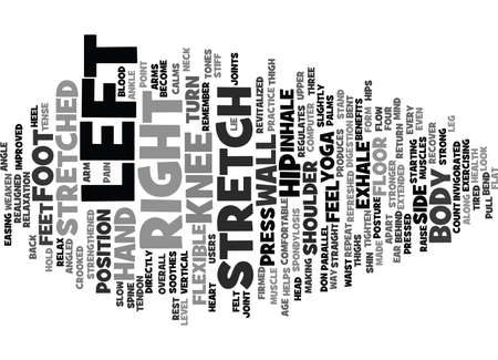 YOGA FOR COMPUTER USERS THE SIDE ANGLED STRETCH Text Background Word Cloud Concept