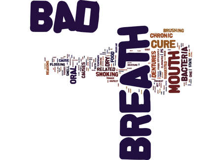 THE EXACT CURE FOR BAD BREATH Text Background Word Cloud Concept