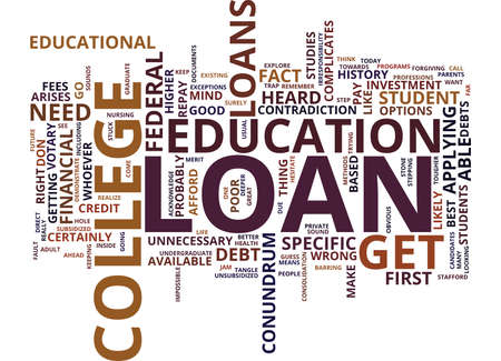 THE INSIDE OUT OF COLLEGE LOANS Text Background Word Cloud Concept