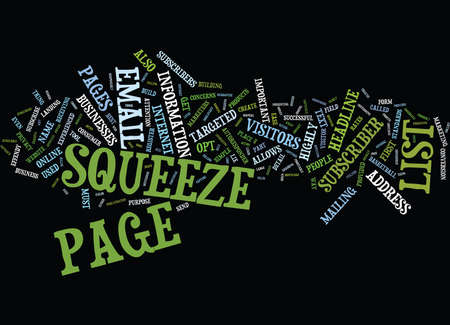 purely: THE KILLER SQUEEZE PAGE STRATEGIES Text Background Word Cloud Concept Illustration