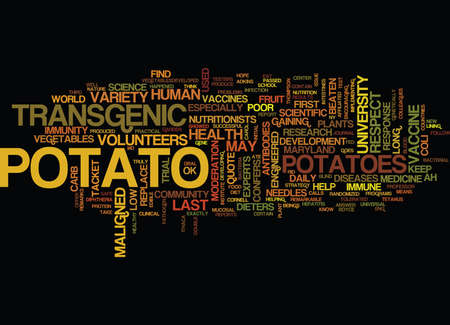 THE MALIGNED POTATO RESPECT AT LAST Text Background Word Cloud Concept Illustration