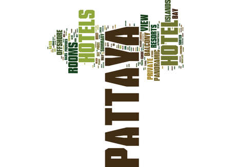 THE PATTAYA HOTELS AND RESORTS GUIDE PROVIDES A BRIEF SUMMARY Text Background Word Cloud Concept Illustration