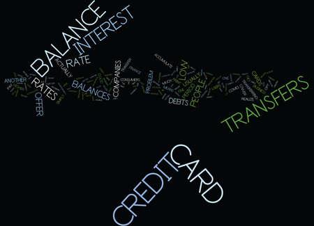 THE PERILS OF CREDIT CARD BALANCE TRANSFERS Text Background Word Cloud Concept Illusztráció