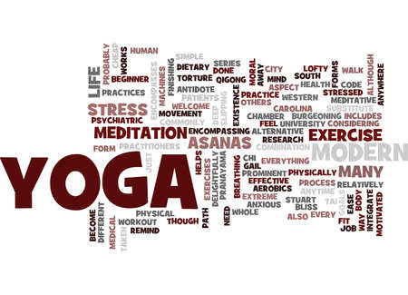 YOGA FOR MODERN CITY LIFE YOGA HELPS EASE MODERN STRESS Text Background Word Cloud Concept