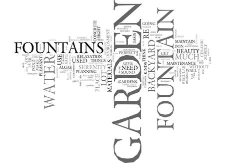 THE LOVE OF A GARDEN FOUNTAIN Text Background Word Cloud Concept Ilustrace