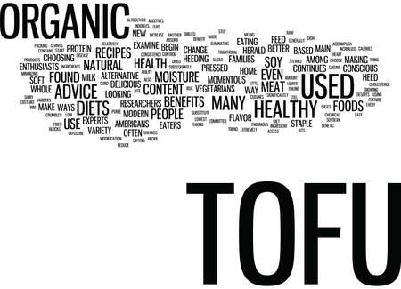 THE INCREASED BENEFIT OF ORGANIC TOFU Text Background Word Cloud Concept Çizim