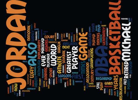DE WETENSCHAP VAN MICHAEL JORDAN Tekstachtergrond Word Cloud Concept Stock Illustratie