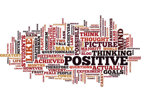 THE POWER OF POSITIVE THOUGHT Text Background Word Cloud Concept