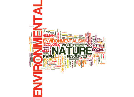 THE ECOLOGY OF ENVIRONMENTALISM Text Background Word Cloud Concept