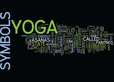 YOGA SYMBOLS Text Background Word Cloud Concept
