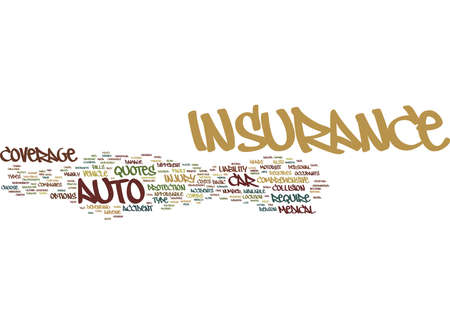 THE ON DIFFERENT TYPES OF AUTO INSURANCE Text Background Word Cloud Concept