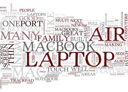 THE NEW MAC AIR SOME OF THE FEATURES OF THE THINNEST YET Text Background Word Cloud Concept Иллюстрация