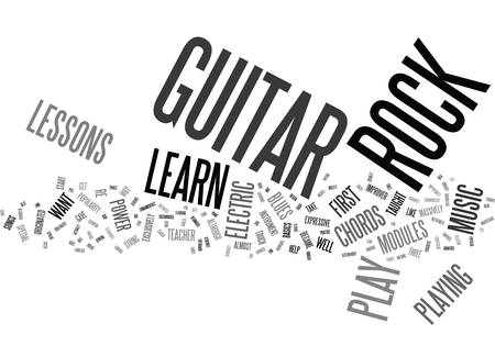 YOU CAN LEARN TO PLAY ROCK GUITAR Text Background Word Cloud Concept Illustration