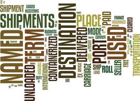 DE INCOTERMS Tekst Achtergrond Word Cloud Concept Stock Illustratie