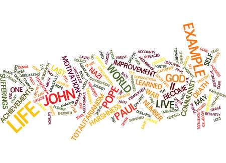 THE EXAMPLE OF POPE JOHN PAUL II Text Background Word Cloud Concept Ilustração