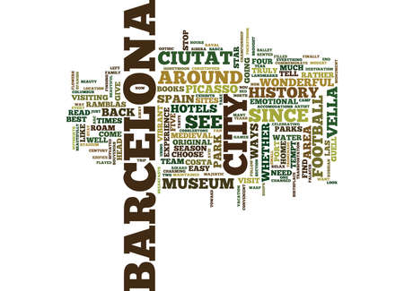 THE LURE OF BARCELONA SPAIN Text Background Word Cloud Concept Illustration