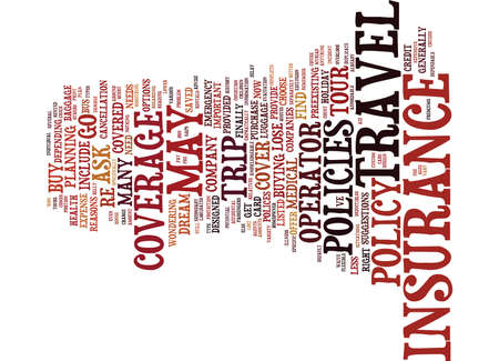 THE IMPORTANCE OF TRAVEL INSURANCE Text Background Word Cloud Concept Çizim