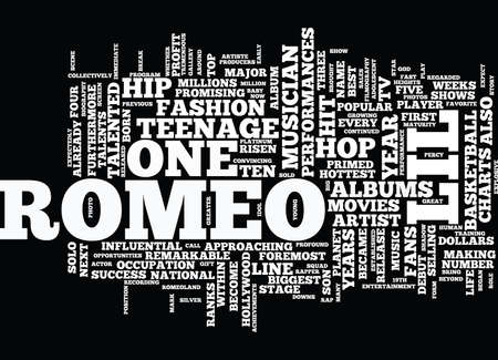 resulted: THE LIL ROMEO SUCCESS STORY Text Background Word Cloud Concept