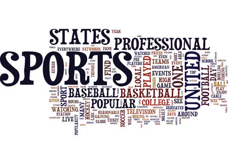 longest: THE MOST POPULAR SPORTS IN THE UNITED STATES Text Background Word Cloud Concept