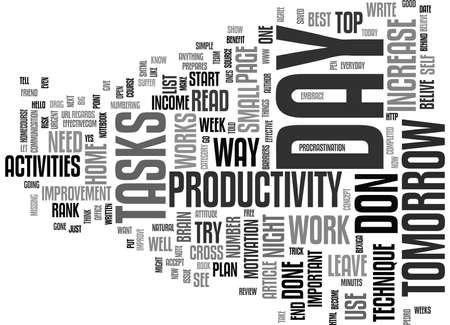 THE INCREASE IN PRODUCTIVITY TECHNIQUE Text Background Word Cloud Concept