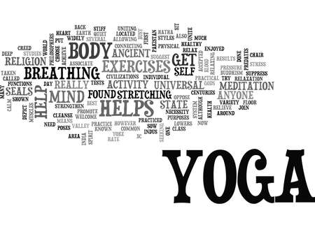 YOGA YOUR WAY TO PHYSICAL AND MENTAL FITNESS Text Background Word Cloud Concept Illustration