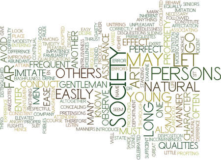 THE ENTRANCE INTO SOCIETY Text Background Word Cloud Concept