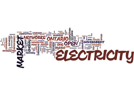THE OPEN ELECTRICITY MARKET HOW IT AFFECTS YOU Text Background Word Cloud Concept Illustration
